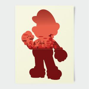 Nintendo Super Mario Mario Silhouette Druck