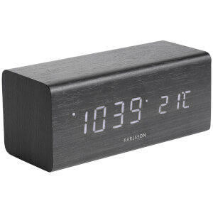Karlsson Block Alarm Clock - Black Veneer with White Led