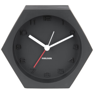 Karlsson Hexagon Alarm Clock - Concrete Black