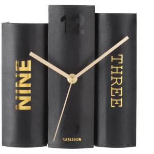 Karlsson Book Table Clock - Black Paper