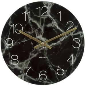 Karlsson Glass Marble Medium Wall Clock - Black