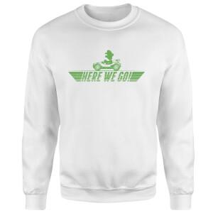 Mario Kart Here We Go Luigi Sweatshirt - White