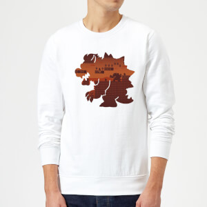 Sweat Homme Super Mario Silhouette Bowser - Nintendo - Blanc
