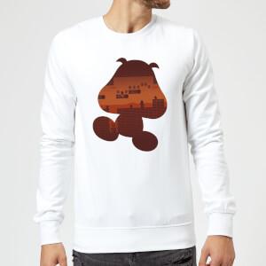 Nintendo Super Mario Goomba Silhouette Sweatshirt - White