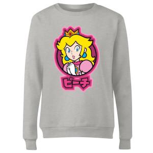 Sudadera Nintendo Super Mario Peach Kanji - Mujer - Gris