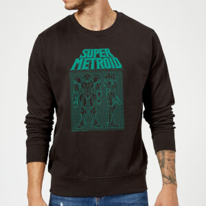 Nintendo Super Metroid Power Suit Blueprint Schwarz Pullover - Schwarz