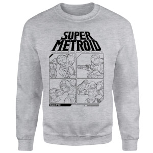 Nintendo Super Metroid Instructional Panel Sweatshirt - Grey
