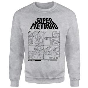 Sweat Homme Super Metroid (Nintendo) Instructional Panel - Gris