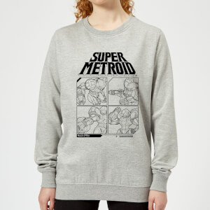 Nintendo Super Metroid Instructional Panel Women's Sweatshirt - Grey