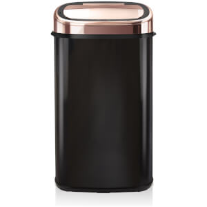 Tower 58L Square Sensor Bin - Black/Rose Gold