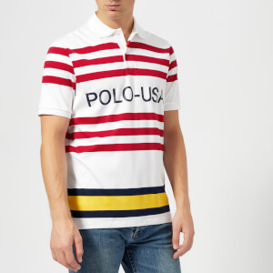 Polo Ralph Lauren Men's Regatta US Polo Stripe Short Sleeve Polo Shirt - White Multi