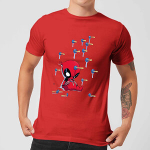 T-Shirt Marvel Deadpool Cartoon Knockout - Rosso