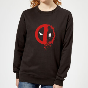 Marvel Deadpool Split Splat Logo Women's Sweatshirt - Black