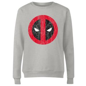 Marvel Deadpool Cracked Logo Women's Sweatshirt - Grey