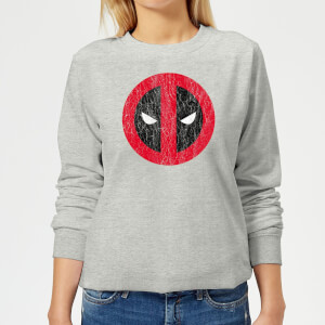 Sweat Femme Deadpool (Marvel) Logo Craqué - Gris