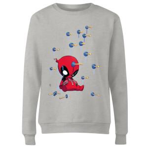 Marvel Deadpool Cartoon Knockout Women's Sweatshirt - Grey