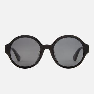 Gucci Women's Round Frame Logo Sunglasses - Black/Multicolour/Grey