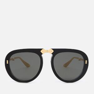 Gucci Women's Acetate Sunglasses - Black/Gold/Grey