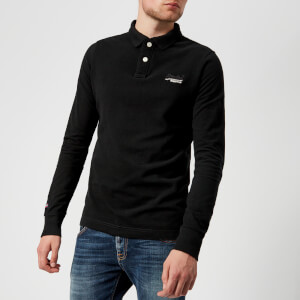 Superdry Men's Classic Long Sleeve Pique Polo Shirt - Black