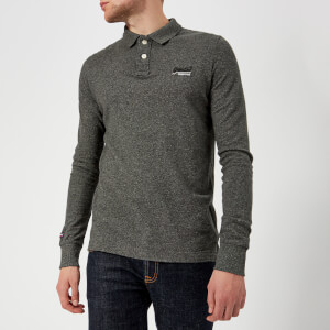 Superdry Men's Classic Long Sleeve Pique Polo Shirt - Cinder Grey Grindle