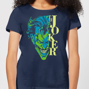 Batman Split Joker Stare Damen T-Shirt - Navy Blau Blau