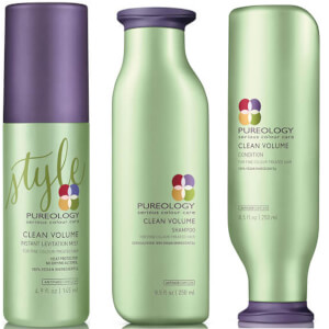 Trío acondicionador, champú y bruma Clean Volume Colour Care de Pureology