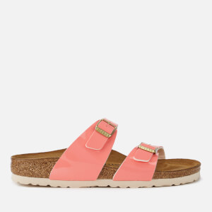 Birkenstock Women's Sydney Patent Slim Fit Double Strap Sandals - Two Tone Cream Coral