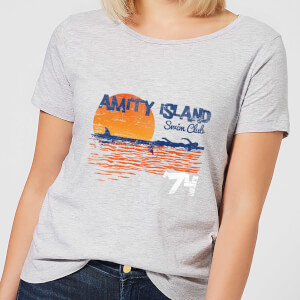 T-Shirt Femme Les Dents de la mer - Club de Natation Amity - Gris