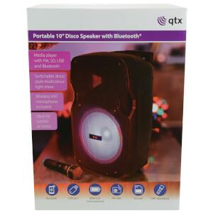 QTX PAL10 Portable Bluetooth PA Speaker with LED Light Show - Black