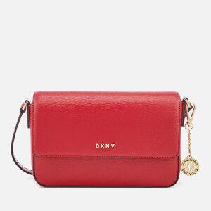 DKNY Women's Bryant Medium Sutton Textured Leather Flap Cross Body Bag - Safari Red
