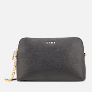 DKNY Women's Bryant Sutton Textured Leather Top Zip Cross Body Bag - Black/Gold