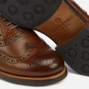 Grenson Men's Stanley Hand Painted Grain Leather Brogues - Tan: Image 4