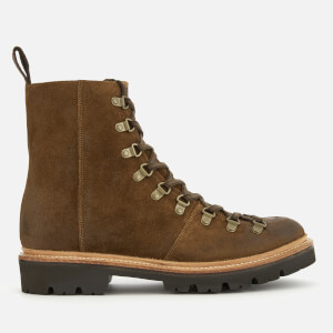 Grenson Men's Brady Burnished Suede Hiker Lace Up Boots - Snuff