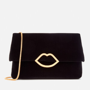 Lulu Guinness Women's Velvet Half Covered Lip Issy Bag - Black