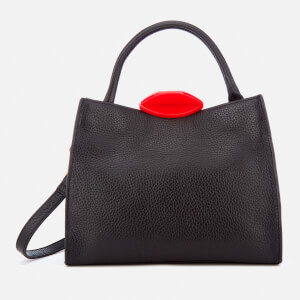 Lulu Guinness Women's Small Locked Lips Opt/Strap Annette Tote Bag - Black