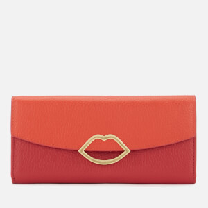 Lulu Guinness Women's Half Covered Lip Trisha Wallet - Orange/Red