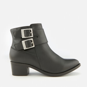 Barbour International Women's Inglewood Leather Buckle Heeled Ankle Boots - Black
