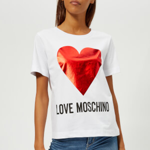 Love Moschino Women's Heart Logo T-Shirt - White