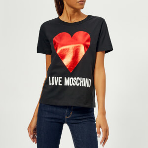 Love Moschino Women's Heart Logo T-Shirt - Black
