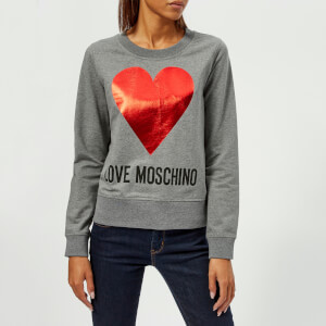 Love Moschino Women's Heart Logo Sweatshirt - Dark Grey