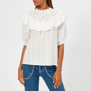 See by Chloe Women's Cotton Ruffle Blouse - White