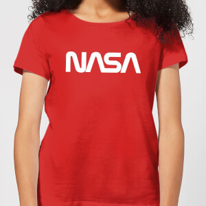 NASA Worm Weiß Logotype Damen T-Shirt - Rot