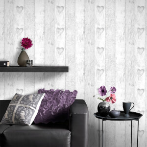 Fresco Grey/White Love Heart Plank Wallpaper