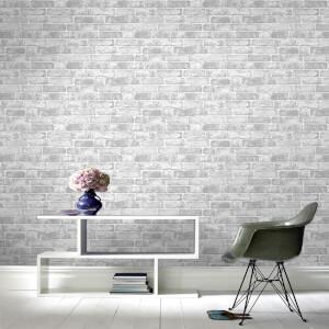 Fresco Industrial White Brick Wallpaper