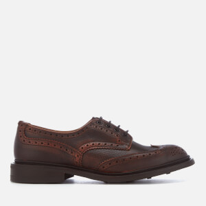 Tricker's Men's Bourton Crosshatch Leather Brogues - Burgundy