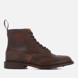 Tricker's Men's Stow Crosshatch Leather Brogue Lace Up Boots - Burgundy