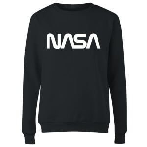 NASA Worm White Logotype Women's Sweatshirt - Black