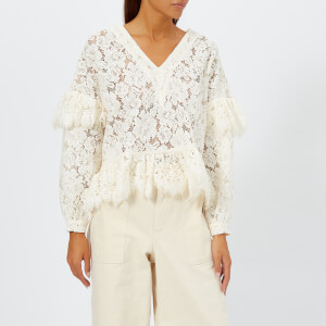 Ganni Women's Jerome Lace Top - Egret