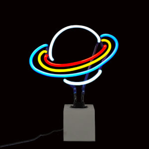 Planet Saturn Neon Light - Concrete Base