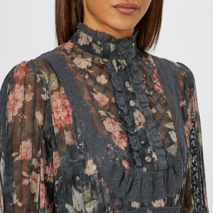 Zimmermann Women's Unbridled Tucked Dress - Ash Garden Floral: Image 4